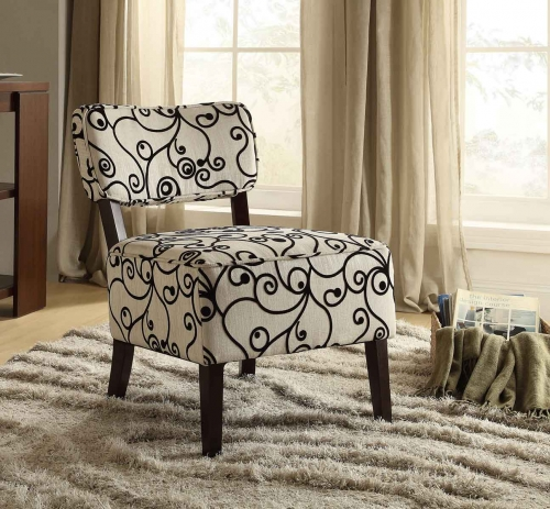 Orson Accent Chair - Black Swirl Fabric