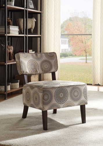 Orson Accent Chair - Grey Medallion Fabric