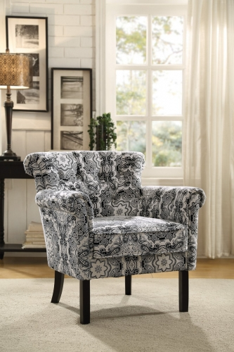 Barlowe Accent Chair - Black Paisley Print