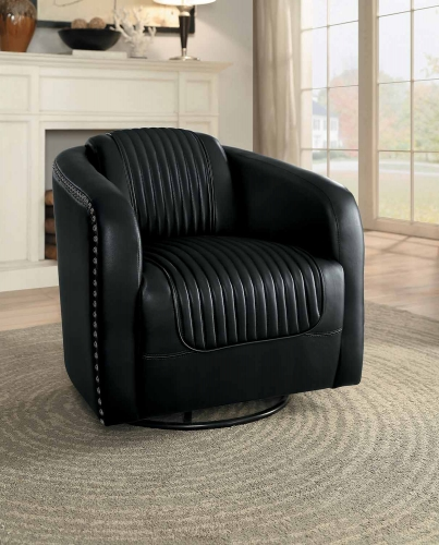 Moderne Swivel Chair - Black Bi-Cast Vinyl