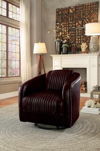 Moderne Swivel Chair - Dark Brown Bi-Cast Vinyl