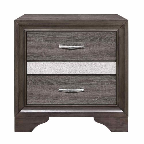 Luster Night Stand - Gray and Silver Glitter