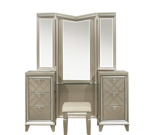 Bijou Vanity Dresser with Mirror - Champagne Mettalic