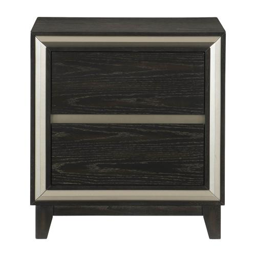 Grant Night Stand - Ebony and Silver