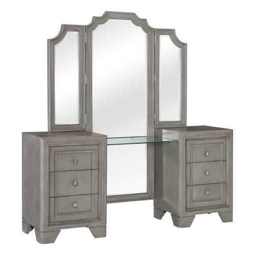 Colchester Vanity Dresser with Mirror - Driftwood Gray
