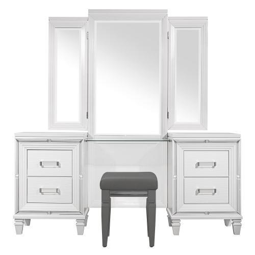 Tamsin Vanity Dresser with Mirror - White Metallic