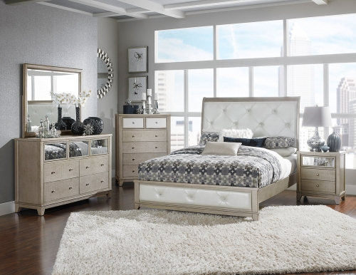 Odelia Button Tufted Upholstered Sleigh Bedroom Set - Silver