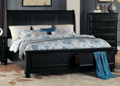 Laurelin Sleigh Platform Storage Bed - Black Sand-Thru