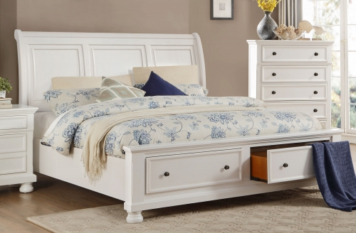 Laurelin Sleigh Platform Storage Bed - White Sand-Thru