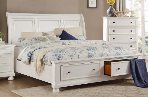 Laurelin Sleigh Platform Storage Bed - White Sand-Thru
