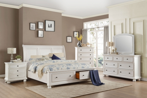Laurelin Sleigh Platform Storage Bedroom Set - White Sand-Thru
