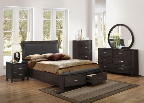 Lyric Upholstered Sleigh Platform Storage Bedroom Set - Brownish Grey