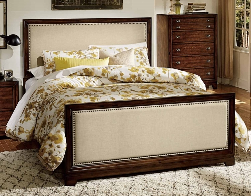 Bernal Heights Upholstered Bed - Dark Walnut