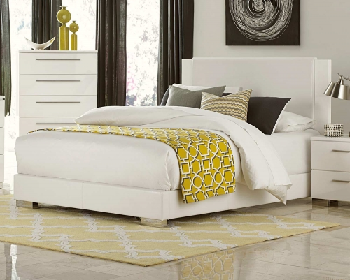 Linnea Upholstered Bed - High-Gloss White