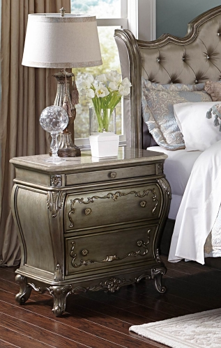 Florentina Night Stand - Silver/Gold