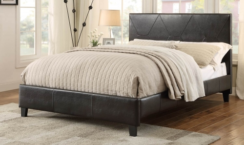 De Leon Upholstered Platform Bed - Dark brown Bi-Cast Vinyl