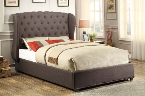 Chardon Upholstered Wing Bed - Dark Grey