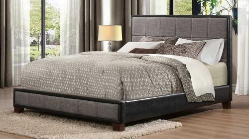 Quinton Upholstered Platform Bed - Grey & Black Bi-Cast Vinyl