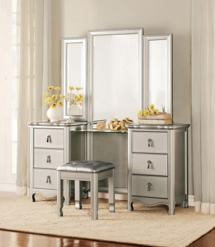 Toulouse Vanity Dresser with Mirror - Champagne