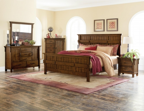 Terrace Panel Bedroom Set - Rustic Burnish Oak