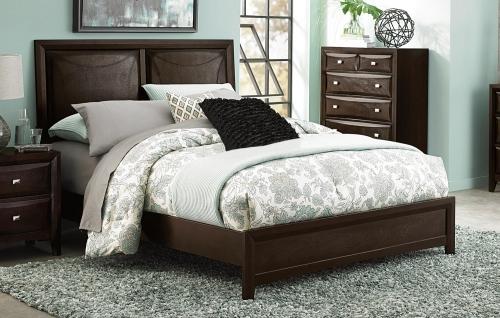 Summerlin Upholstered Panel Bed - Espresso