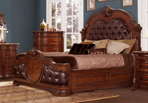 Antoinetta Upholstered Bed - Warm Cherry
