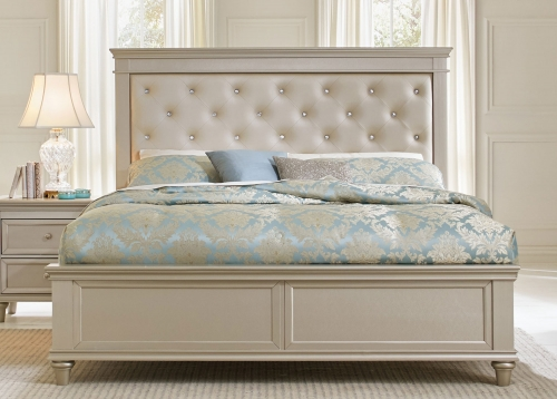 Celandine Upholstered Bed - Silver
