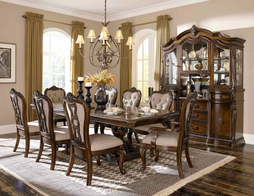Bonaventure Park Dining Set - Gold-Highlighted Cherry