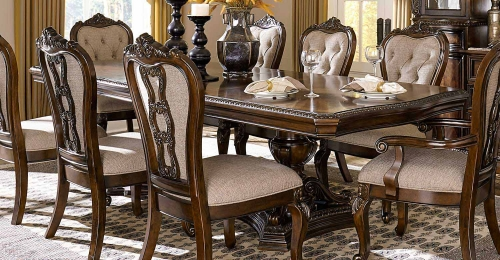Bonaventure Park Double Pedestal Dining Table - Gold-Highlighted Cherry