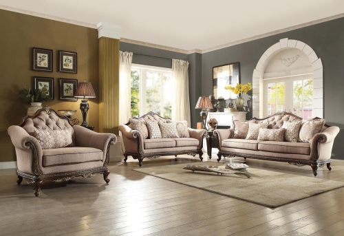 Bonaventure Park Sofa Set - Chenille - Brown