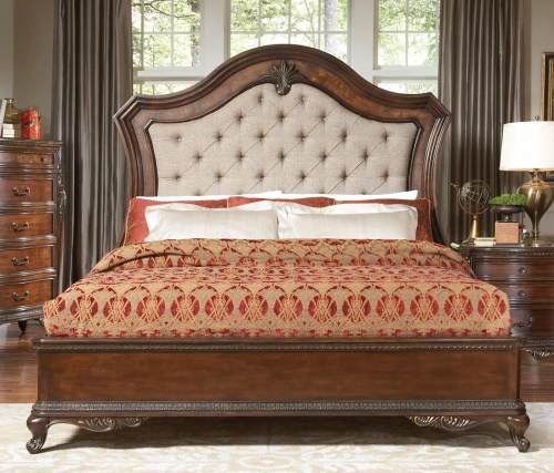 Bonaventure Park Upholstered Bed - Warm Cherry