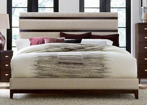 Pelmar Upholstered Bed - Dark Walnut