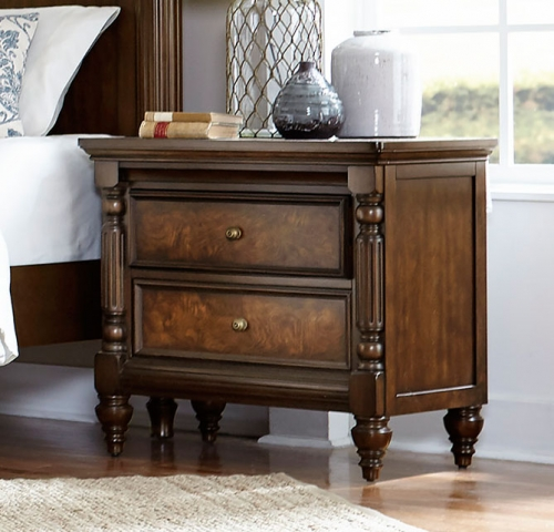 Verlyn Night Stand - Cherry with Burl Accents