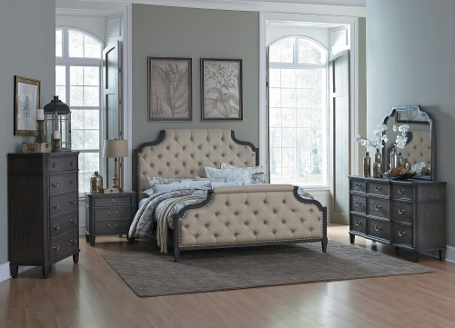 Lindley Button Tufted Upholstered Bedroom Set - Dusty Gray