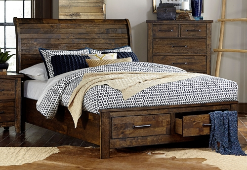 Jerrick Sleigh Platform Storage Bed - Rustic Burnished Wood