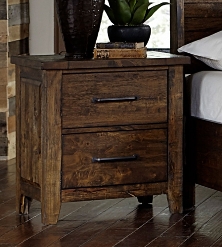 Jerrick Night Stand - Rustic Burnished Wood