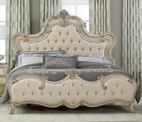 Elsmere Button Tufted Upholstered Bed - Antique Gray