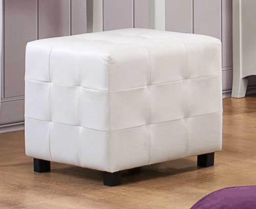 Sparkle Upholstered Ottoman - White