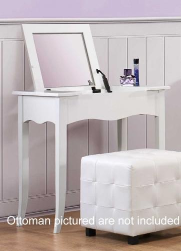 Sparkle Vanity Desk w/ Lift top Mirror - White