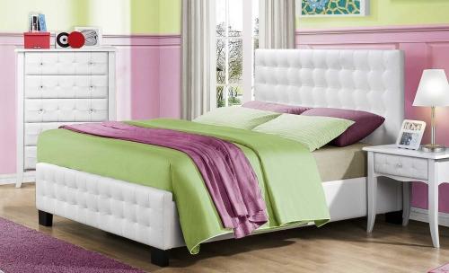 Sparkle Upholstered Bed - White