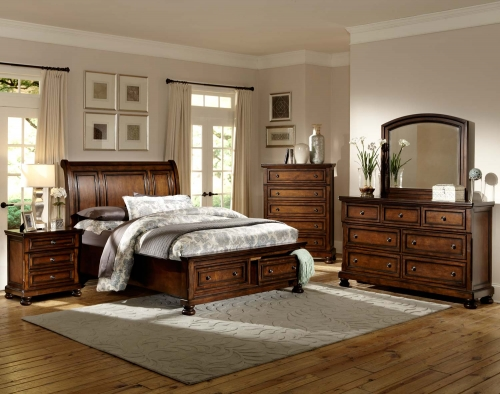 Cumberland Platform Bedroom Set - Brown Cherry