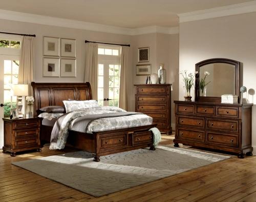 Cumberland Platform Bedroom Set - Brown Cherry