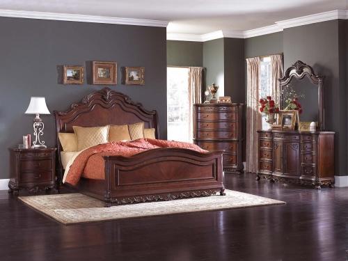 Deryn Park Sleigh Bed Set - Cherry