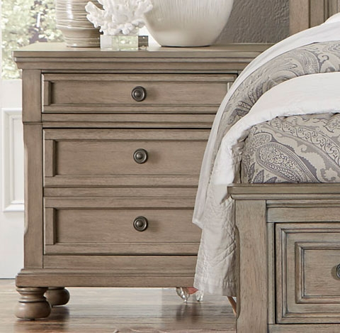 Bethel Night Stand - Wire-brushed Gray