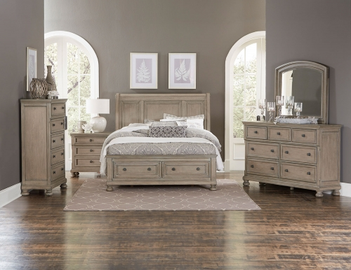 Bethel Sleigh Platform Storage Bedroom Set - Wire-brushed Gray