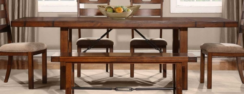 Clayton Dining Table With End Leaves - Dark Oak