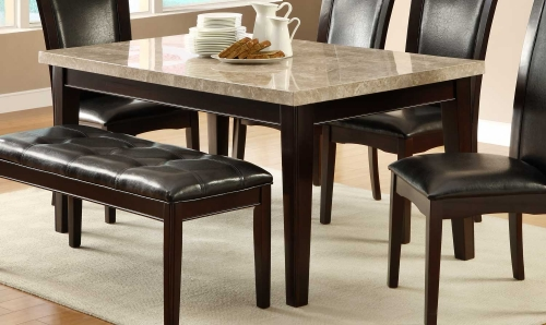 Hahn Dining Table - Ivory Marble Top/Dark Brown - Genuine Marble Top