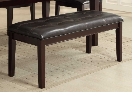 Thurston Bench - Espresso - Tufted Dark Brown Bi-Cast Vinyl