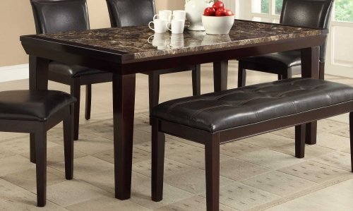 Thurston Faux Marble Dining Table - Espresso
