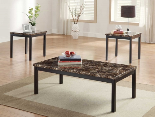 Tempe 3-Piece Occasional Tables - Faux Marble Top - Black Metal